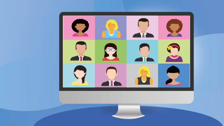 Zu sehen ist ein Bildschirm, auf dem zwölf cartoon Personen zu sehen sind. Der Hintergrund ist blau hinterlegt.