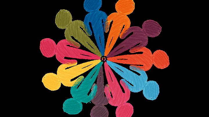 Zu sehen sind 11 bunte (blau,grün,gelb,rot,orange,türkis,lila) gezeichnete Silhouetten, die einen Kreis bilden. Dabei zeigen alle Füße in die Mitte des Kreises.